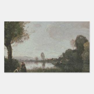 ジーンBaptisteカミーユCorot -セーヌ河の景色 長方形シール