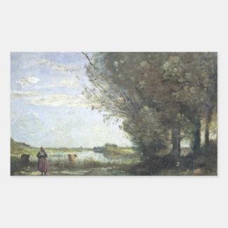 ジーンBaptisteカミーユCorot -川の眺め 長方形シール