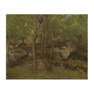 ジーンBaptisteカミーユCorot -森林の石 ウッドウォールアート