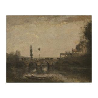 ジーンBaptisteカミーユCorot -橋との景色 ウッドウォールアート