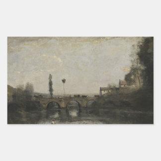ジーンBaptisteカミーユCorot -橋との景色 長方形シール
