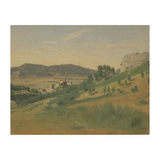ジーンBaptisteカミーユCorot - Olevanoの眺め ウッドウォールアート