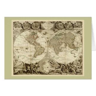 ジーンBaptiste Nolin著1708年の世界地図 カード