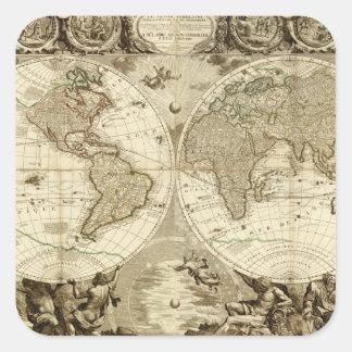 ジーンBaptiste Nolin著1708年の世界地図 スクエアシール