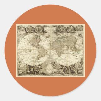 ジーンBaptiste Nolin著1708年の世界地図 ラウンドシール
