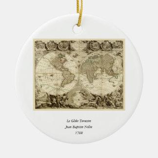 ジーンBaptiste Nolin著1708年の世界地図 陶器製丸型オーナメント