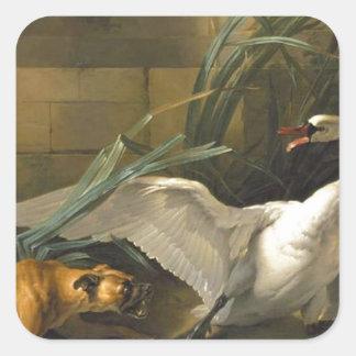 ジーンBaptiste Oudry著犬によって攻撃される白鳥 スクエアシール
