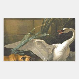 ジーンBaptiste Oudry著犬によって攻撃される白鳥 長方形シール