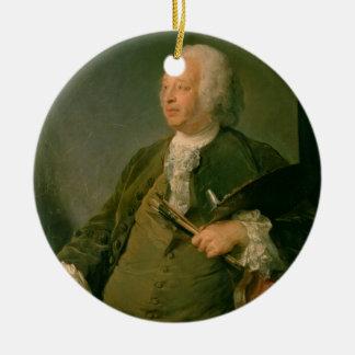 ジーンBaptiste Oudry (1686-1755年の) c.1753のポートレート 陶器製丸型オーナメント