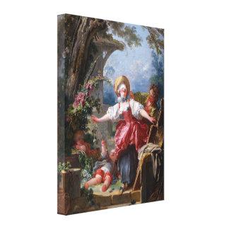 ジーンHonore Fragonardによって絶壁に盲目人を配置します キャンバスプリント