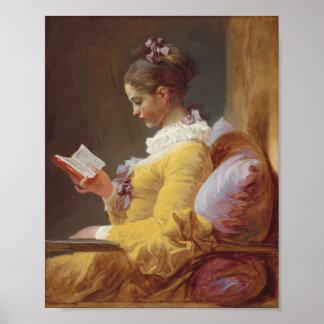 ジーンHonore Fragonardの若い女の子の読書 ポスター