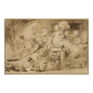 ジーンHonore Fragonard著パンケーキメーカー ポスター