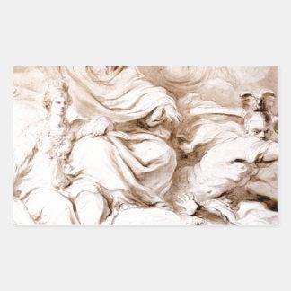 ジーンHonore Fragonard著フランクリンの天才に 長方形シール