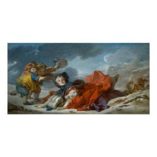 ジーンHonore Fragonard著冬 ポスター