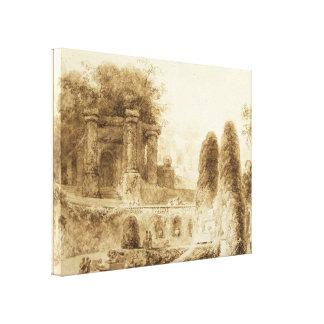 ジーンHonore Fragonard著噴水が付いているローマ公園 キャンバスプリント