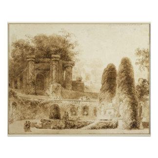 ジーンHonore Fragonard著噴水が付いているローマ公園 ポスター