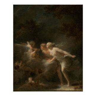 ジーンHonore Fragonard著愛の噴水 ポスター
