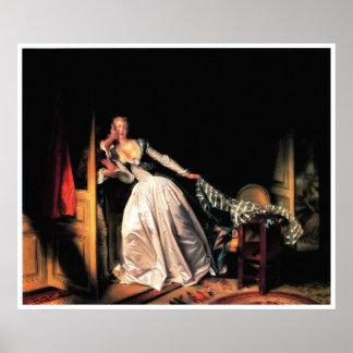 ジーンHonore Fragonard著盗まれたキスのプリント ポスター