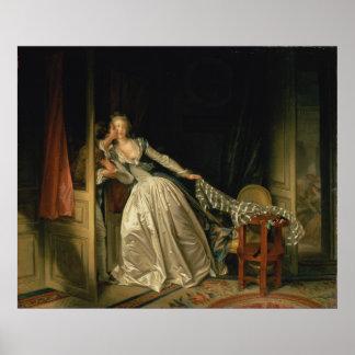 ジーンHonore Fragonard著盗まれたキス ポスター