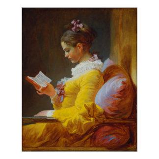 ジーンHonore Fragonard著若い女の子の読書 ポスター