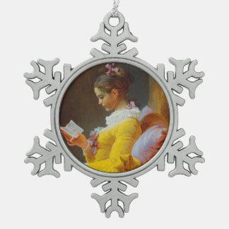 ジーンHonore Fragonard著読者 スノーフレークピューターオーナメント