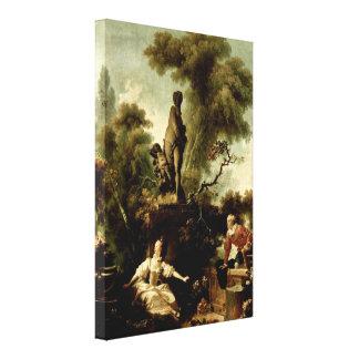 ジーンHonore Fragonard -梯子 キャンバスプリント
