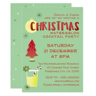 スイカのクリスマスのカクテルのパーティの招待状 カード