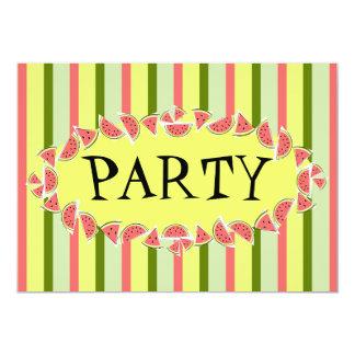 スイカのストライプでクラシックなパーティの招待状 カード