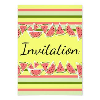 スイカのストライプでクラシックな招待状の垂直 カード