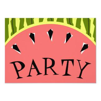 スイカのストライプなピンクのパーティの招待状 カード