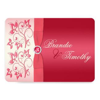 スイカのピンクおよびアイボリーの花の招待状 カード