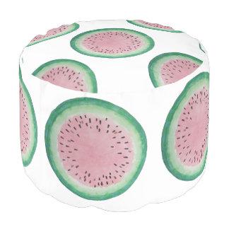スイカのピンク及び緑の手塗りの水彩画 プーフ