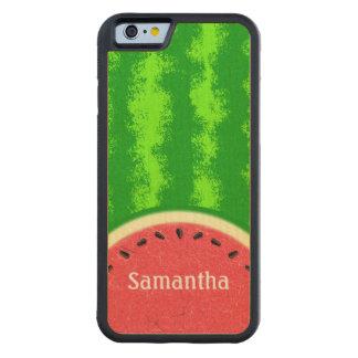 スイカの切れの夏のフルーツの名前入りなかわいい CarvedメープルiPhone 6バンパーケース
