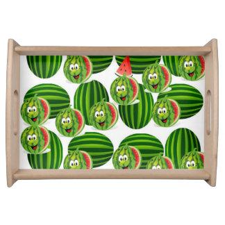スイカの子供の白い緑の赤いサービングの皿 トレー