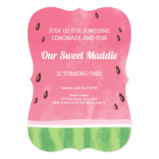スイカの誕生日の招待状のメロンのパーティーの夏 カード