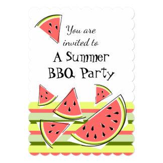 スイカの部分の夏BBQのストライプな垂直 カード