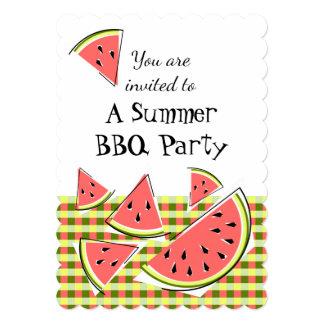 スイカの部分の夏BBQの点検の垂直 カード