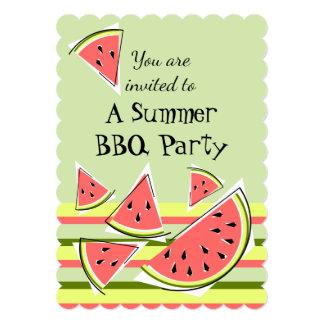 スイカの部分の緑の夏BBQのストライプな垂直 カード