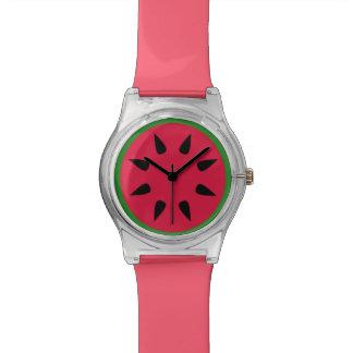 スイカの黒い種の緑の皮のメロンの切れの腕時計 腕時計