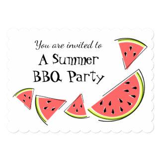 スイカは横の夏BBQの招待を継ぎ合わせます カード