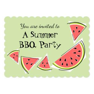 スイカは横の緑の夏BBQを継ぎ合わせます カード