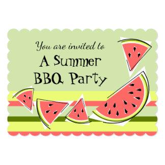 スイカは緑の夏BBQのストライブ柄を継ぎ合わせます カード