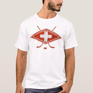 スイスのアイスホッケーの旗のティー Tシャツ