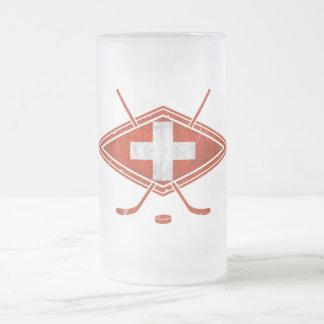 スイスのアイスホッケーの旗 フロストグラスビールジョッキ