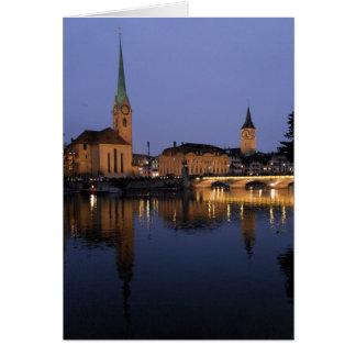 スイスのチューリッヒの反射挨拶状 カード