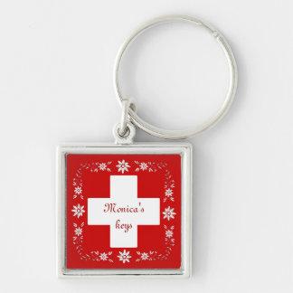 スイスの旗およびedelweiss キーホルダー