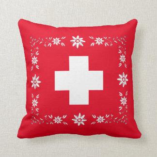 スイスの旗およびedelweiss クッション