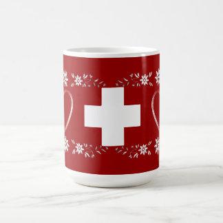 スイスの旗およびedelweiss コーヒーマグカップ