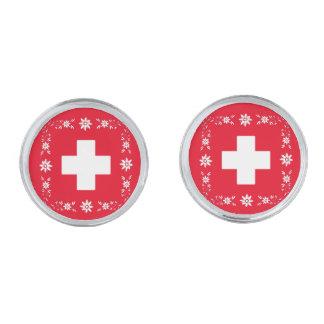 スイスの旗およびedelweiss シルバー カフスボタン