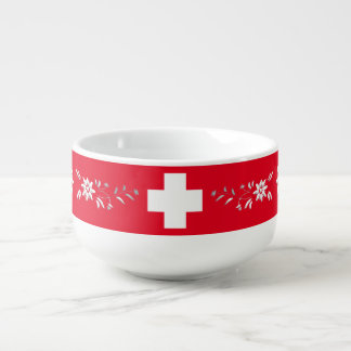 スイスの旗およびedelweiss スープマグ